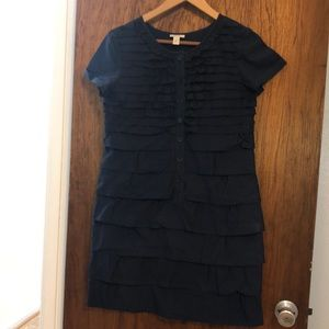 JCrew ruffle front dress with buttons
